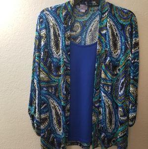 Blue and Green 3/4 sleeve Kimono Blouse
